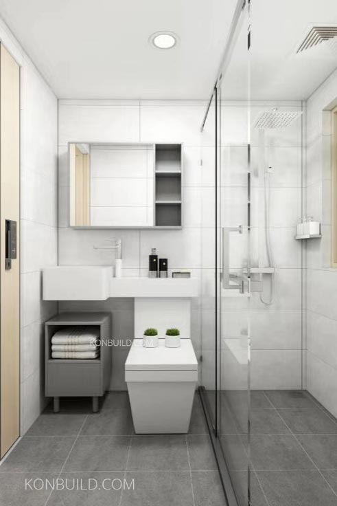 Expandable container home bathroom