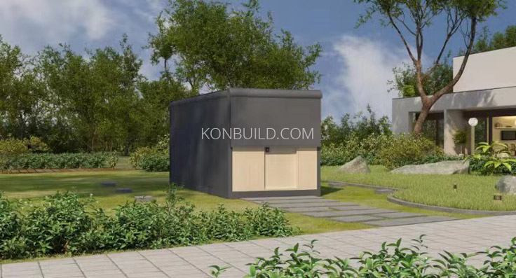 Expandable container home in it's closed position.