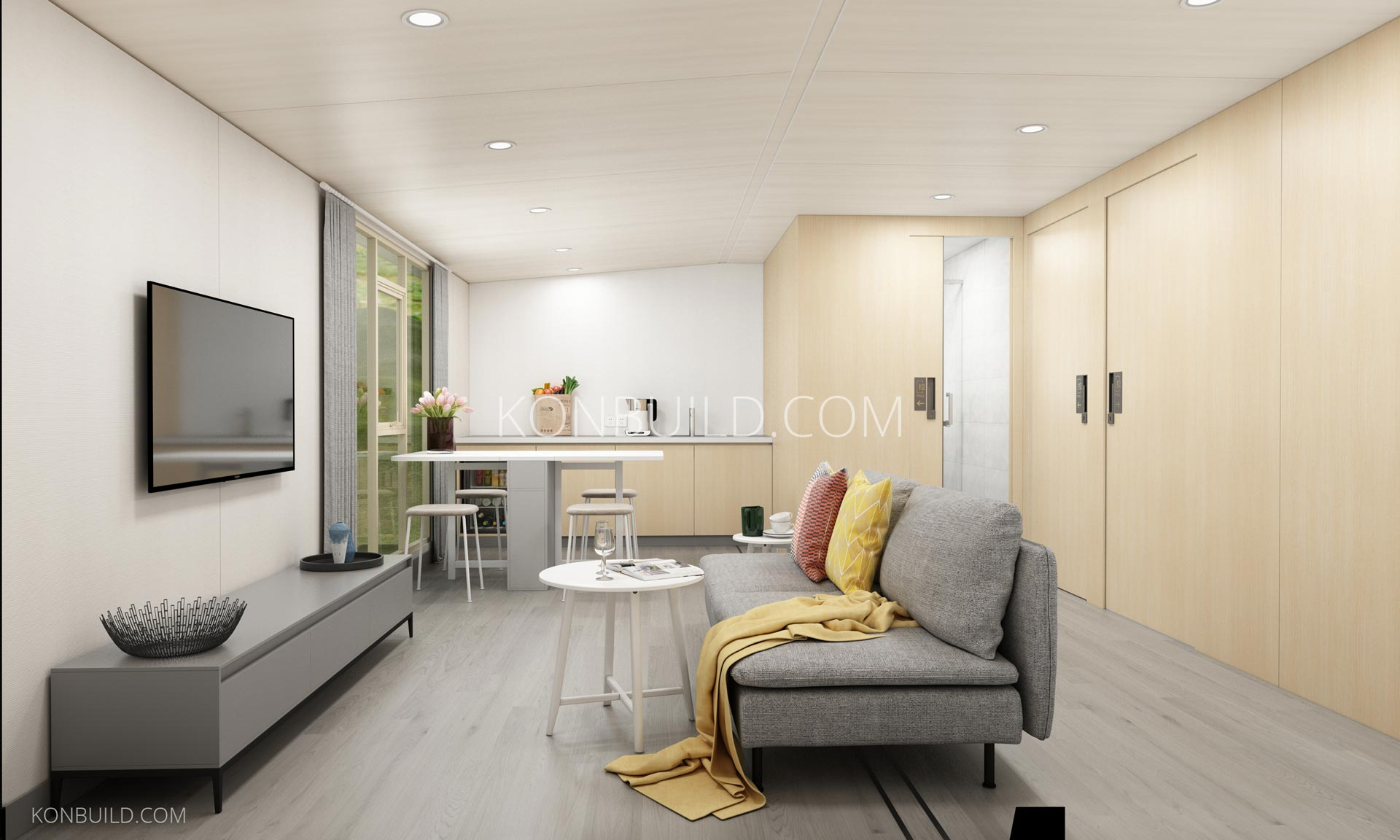 Expandable container home luxury interior