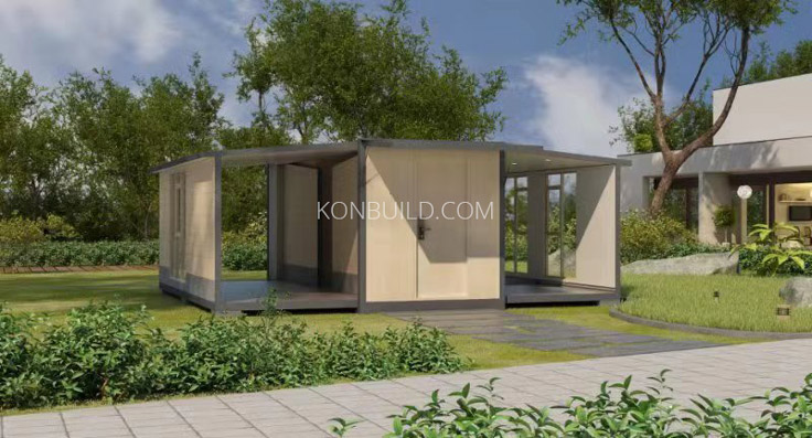 Expandable container home opening
